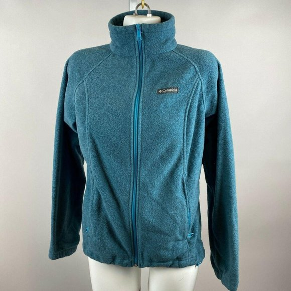 Columbia Light Blue Fleece Drawstring Jacket